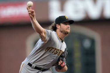 Pittsburgh Pirates starting pitcher Gerrit Cole (45) throws a pitch in the first inning as the Pittsburgh Pirates face the San Francisco Giants at AT&T Park in San Francisco, Calif., on Monday, July 24, 2017.