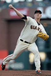 San Francisco Giants starting pitcher Matt Cain (18) throws a pitch in the second inning as the Pittsburgh Pirates face the San Francisco Giants at AT&T Park in San Francisco, Calif., on Monday, July 24, 2017.
