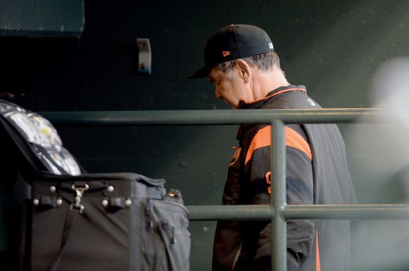 San Francisco Giants manager Bruce Bochy (15) leaves the field after being ejected in the second inning as the Pittsburgh Pirates face the San Francisco Giants at AT&T Park in San Francisco, Calif., on Monday, July 24, 2017.