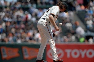 San Francisco Giants pitcher Jeff Samardzija (29) grabs the ball to begin the game as the Pittsburgh Pirates face the San Francisco Giants at AT&T Park in San Francisco, Calif., on Wednesday, July 26, 2017.