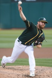 Oakland Athletics pitcher Paul Blackburn (45) pitches in the second inning of the game against the San Francisco Giants at the Oakland Coliseum in Oakland, Calif., on July 31, 2017.