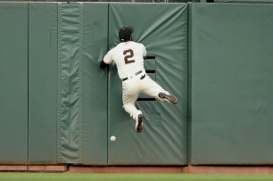 San Francisco Giants center fielder Denard Span (2) can't snag a Chapman double in the second inning as the Oakland Athletics face the San Francisco Giants at AT&T Park in San Francisco, Calif., on Tuesday, August 2, 2017.
