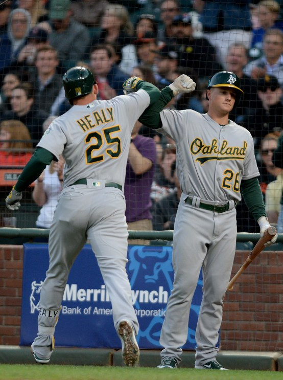 Oakland Athletics designated hitter Ryon Healy (25) is congratulated after hitting a home run in the third inning as the Oakland Athletics face the San Francisco Giants at AT&T Park in San Francisco, Calif., on Tuesday, August 2, 2017.