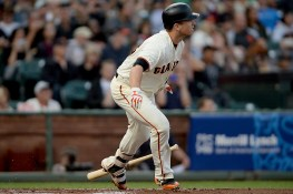 San Francisco Giants catcher Buster Posey (28) singles in the first inning as the Oakland Athletics face the San Francisco Giants at AT&T Park in San Francisco, Calif., on Thursday, August 3, 2017.