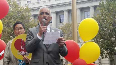 City College of San Francisco Chancellor Mark Rocha helps launch the program that will offer free tuition to San Francisco residents starting the fall 2017.