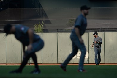 The Arizona Diamondbacks stretch before they face the San Francisco Giants at AT&T Park in San Francisco, Calif., on Friday, August 4, 2017.