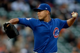 Chicago Cubs starting pitcher Jose Quintana (62) throws a pitch in the first inning as the Chicago Cubs face the San Francisco Giants at AT&T Park in San Francisco, Calif., on Tuesday, August 8, 2017.