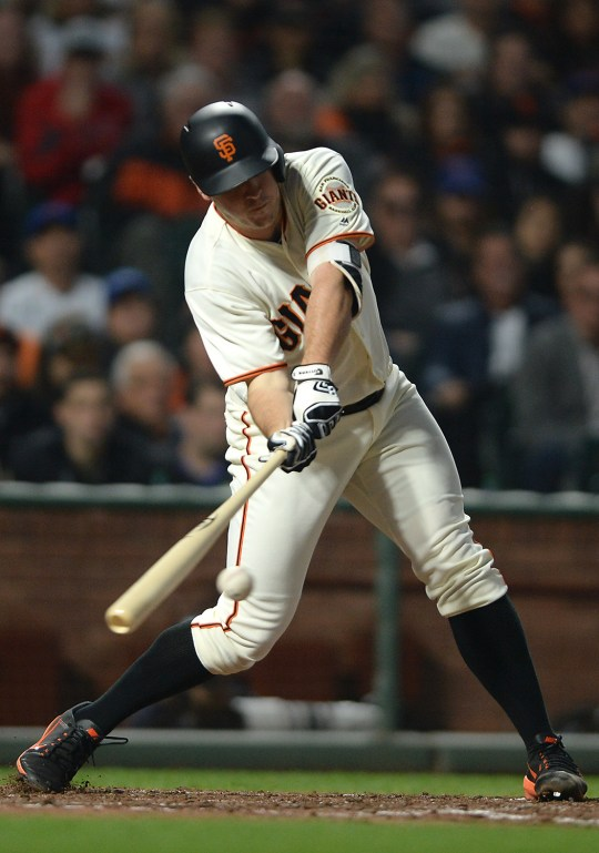 San Francisco Giants relief pitcher Ty Blach (50) connects for an RBI single in the fourth inning as the Chicago Cubs face the San Francisco Giants at AT&T Park in San Francisco, Calif., on Tuesday, August 8, 2017.