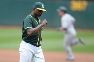 Oakland Athletics starting pitcher Jharel Cotton (45) looks down as Seattle Mariners third baseman Kyle Seager (15) rounds the bases after hitting a home run in the first inning as the Seattle Mariners face the Oakland Athletics at Oakland Coliseum in Oakland, Calif., on Wednesday, August 9, 2017.