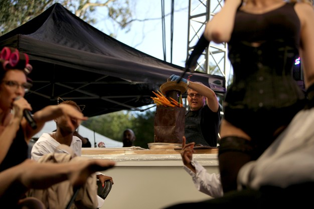 Donald Wressell. Executive Pastry Chef for Guittard Chocolate Company prepares a chocolate sculpture during a performance by Boyfriend at the Outside Lands Music Festival at Golden Gate Park in San Francisco, Calif., on Saturday, August 12, 2017.