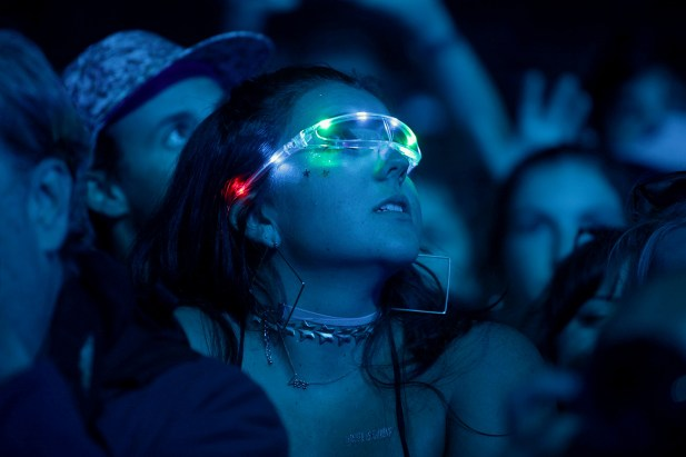 Fans look on as Empire of the Sun performs at the Outside Lands Music Festival at Golden Gate Park in San Francisco, Calif., on Saturday, August 12, 2017.
