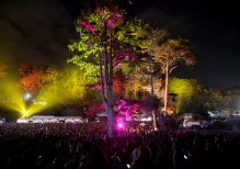 Lights illuminate the trees at the Outside Lands Music Festival at Golden Gate Park in San Francisco, Calif., on Saturday, August 12, 2017.