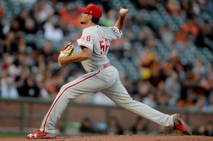 Philadelphia Phillies starting pitcher Zach Eflin (56) throws a pitch in the first inning as the Philadelphia Phillies face the San Francisco Giants at AT&T Park in San Francisco, Calif., on Friday, August 18, 2017.