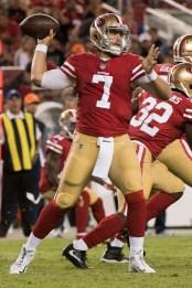San Francisco 49ers quarterback Matt Barkley (7) passes in the fourth quarter of the game against the Denver Broncos at Levi's Stadium in Santa Clara, Calif., on August 19, 2017.