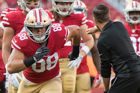 San Francisco 49ers tight end Garrett Celek (88) goes through drills on the field prior to the game against the Denver Broncos at Levi's Stadium in Santa Clara, Calif., on August 19, 2017.