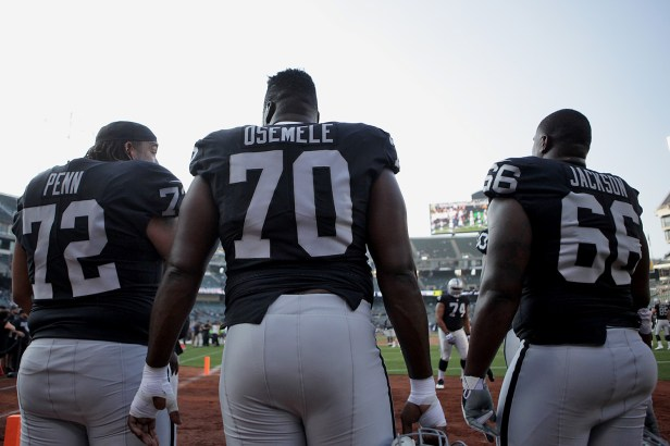 Oakland Raiders tackle Donald Penn (72), offensive guard Kelechi Osemele (70) and guard Gabe Jackson (66) work through drills before the Seattle Seahawks face the Oakland Raiders at Oakland Coliseum in Oakland, Calif., on Thursday, August 31, 2017.