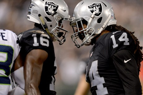 Wide receiver Keon Hatcher (right) didn't survive the Raiders final cuts, while wide receiver Johnny Holton (left) made Oakland's 53-man roster.