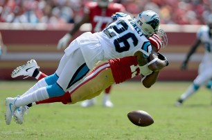 Carolina Panthers' Daryl Worley (26) breaks up a pass intended for San Francisco 49ers' Pierre Garcon (15) as the Carolina Panthers face the San Francisco 49ers at Levi's Stadium in Santa Clara, Calif., on Sunday, September 10, 2017.