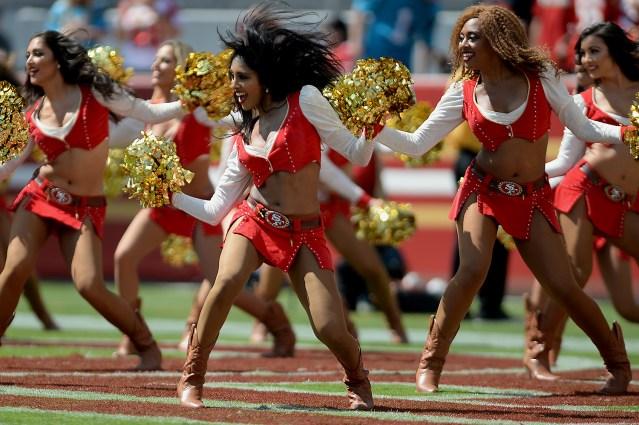 The Gold Rush perform as the Carolina Panthers face the San Francisco 49ers at Levi's Stadium in Santa Clara, Calif., on Sunday, September 10, 2017.