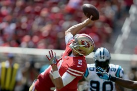 San Francisco 49ers starting quarterback Brian Hoyer (2) throws a pass in the first half as the Carolina Panthers face the San Francisco 49ers at Levi's Stadium in Santa Clara, Calif., on Sunday, September 10, 2017.