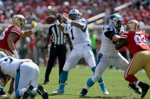 Carolina Panthers starting quarterback Cam Newton (1) fires a pass downfield as the Carolina Panthers face the San Francisco 49ers at Levi's Stadium in Santa Clara, Calif., on Sunday, September 10, 2017.