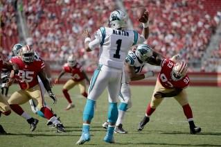 Carolina Panthers starting quarterback Cam Newton (1) throws a pass in the fourth quarter as the Carolina Panthers face the San Francisco 49ers at Levi's Stadium in Santa Clara, Calif., on Sunday, September 10, 2017.