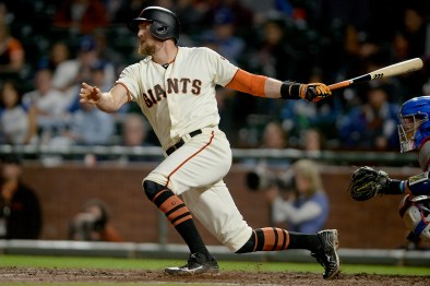 San Francisco Giants right fielder Hunter Pence (8) connects for an RBI in the sixth inning as the Los Angeles Dodgers face the San Francisco Giants at AT&T Park in San Francisco, Calif., on Monday, September 11, 2017.