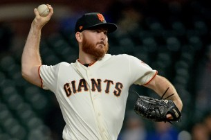 San Francisco Giants relied pitcher Sam Dyson (49) closes out the 8-6 victory over the Los Angeles Dodgers at AT&T Park in San Francisco, Calif., on Monday, September 11, 2017.