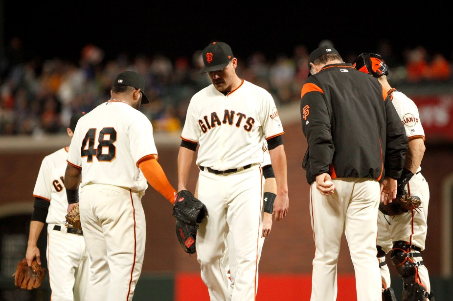 San Francisco Giants pitcher Matt Moore (45) is pulled for a pitching change in the fifth inning as the Los Angeles Dodgers face the San Francisco Giants at the AT&T Park on Wednesday September 13, 2017.