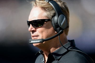 Oakland Raiders head coach Jack Del Rio communicates during a timeout in the second half as the New York Jets face the Oakland Raiders at Oakland Coliseum in Oakland, Calif., on Sunday, September 17, 2017.
