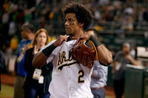 Oakland Athletics left fielder Khris Davis (2) is seen after winning their game against the Texas Rangers at the Oakland Coliseum in Oakland, Calif. on Saturday, September 23, 2017.