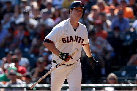 San Francisco Giants pitcher Matt Cain (18) reacts after being struck out in the second inning as the San Diego Padres take on the San Francisco Giants at AT&T Park on Saturday, September 30, 2017.