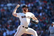San Francisco Giants pitcher Sam Dyson(49) pitches in the ninth inning as the San Diego Padres take on the San Francisco Giants at AT&T Park on Saturday, September 30, 2017. Giants lost 2-3.
