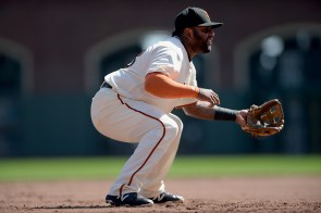 San Francisco Giants third baseman Pablo Sandoval (48) readies for a play in the second inning as the San Diego Padres face the San Francisco Giants at AT&T Park in San Francisco, Calif., on Sunday, October 1, 2017.