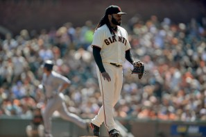 San Francisco Giants starting pitcher Johnny Cueto (47) reacts after giving up a home run to San Diego Padres right fielder Hunter Renfro (10) as the San Diego Padres face the San Francisco Giants at AT&T Park in San Francisco, Calif., on Sunday, October 1, 2017.