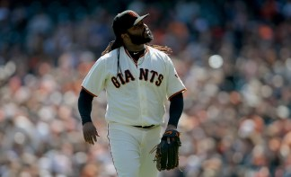 San Francisco Giants starting pitcher Johnny Cueto (47) reacts at the middle of the third inning as the San Diego Padres face the San Francisco Giants at AT&T Park in San Francisco, Calif., on Sunday, October 1, 2017.
