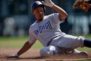 San Diego Padres starting pitcher Luis Perdomo (61) triples in the fourth inning as the San Diego Padres face the San Francisco Giants at AT&T Park in San Francisco, Calif., on Sunday, October 1, 2017.