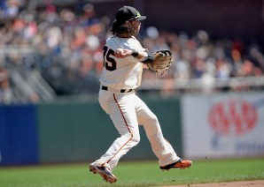 San Francisco Giants shortstop Brandon Crawford (35) throws to second on a San Diego Padres Carlos Asuaje fielders choice in the fourth inning as the San Diego Padres face the San Francisco Giants at AT&T Park in San Francisco, Calif., on Sunday, October 1, 2017.