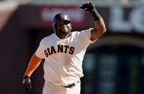 San Francisco Giants third baseman Pablo Sandoval (48) pumps his fist after a walk off solo home run as the San Diego Padres lose in the final game of the season 5-4 to the San Francisco Giants at AT&T Park in San Francisco, Calif., on Sunday, October 1, 2017.