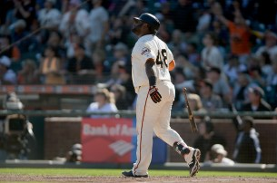 San Francisco Giants third baseman Pablo Sandoval (48) watches a walk off solo home run as the San Diego Padres lose in the final game of the season 5-4 to the San Francisco Giants at AT&T Park in San Francisco, Calif., on Sunday, October 1, 2017.