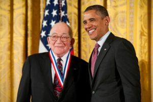 Sidney Drell with Barack Obama