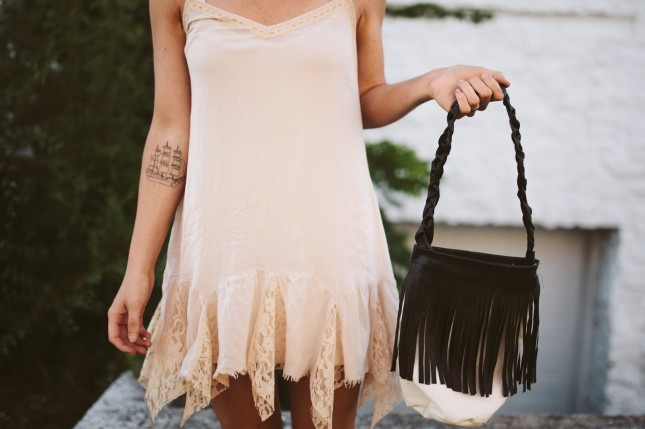 leather canvas fringe string draw bag (13 of 13)