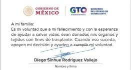 Dona sus órganos al morir,  el Gobernador Diego Sinhue Rodríguez