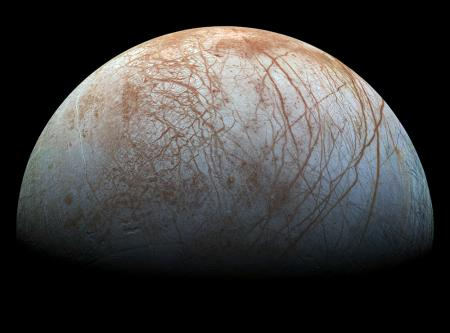The puzzling, fascinating surface of Jupiter's icy moon Europa looms large in images taken by NASA's Galileo spacecraft. - See more at: http://www.caltech.edu/news/probing-mysteries-europa-jupiters-cracked-and-crinkled-moon-48593#sthash.QAiuYC7Z.dpuf