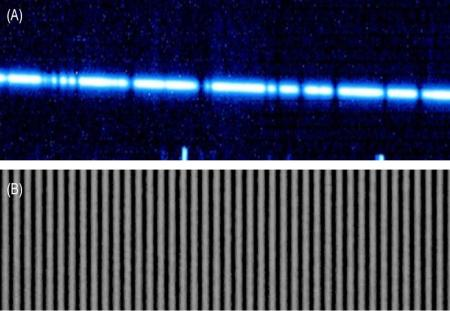 (A) A segment of the near infrared (IR) spectrum of a cool star as observed by the Keck II telescope's near infrared spectrometer (NIRSPEC). Dark bands represent absorption features in the star's atmosphere. (B) A segment of the near IR spectrum from the laser frequency comb, observed by NIRSPEC during daytime tests. Small shifts of the spectrum relative to the stable wavelength standard provided by the laser comb would yield a precision measurement of the wobble induced by an orbiting planet. - See more at: http://www.caltech.edu/news/new-calibration-tool-will-help-astronomers-look-habitable-exoplanets-49624#sthash.ofDwbppb.dpuf