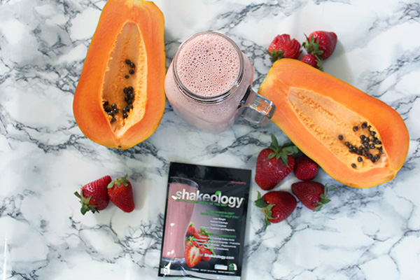 Strawberry Shakeology with papaya