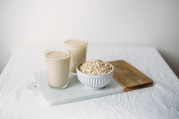Glasses of oat milk