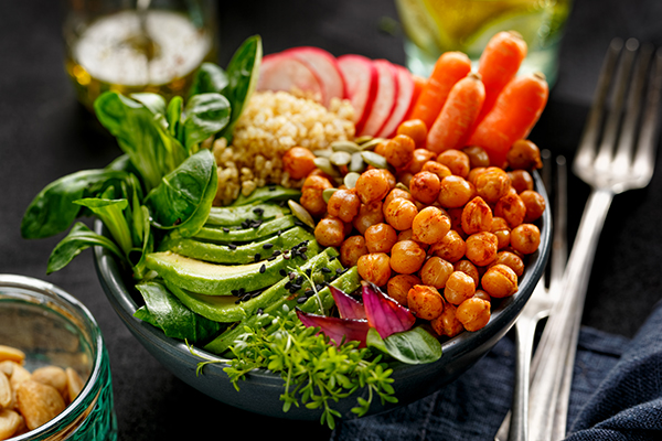 Protein bowl of mixed vegetables.