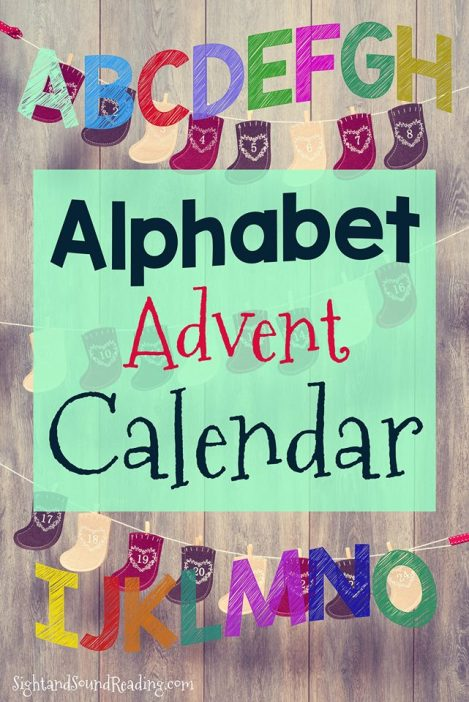 Alphabet Advent Calendar: Cute advent calendar that counts down to Jesus's birthday using letters, not numbers.