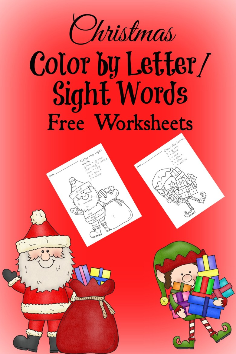 free christmas worksheets for kids – color by letter/sight word